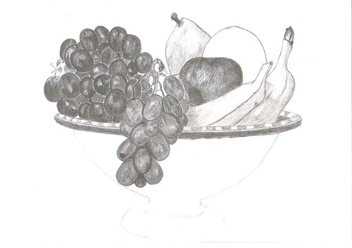 Fruit Bowl Line Drawing Fruit Bowl Pencil Drawings