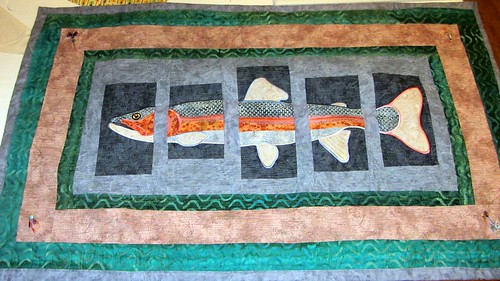 About-a-trout quilt hanging
