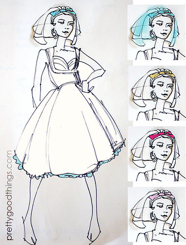 Pretty Good Things custom wedding veil sketch