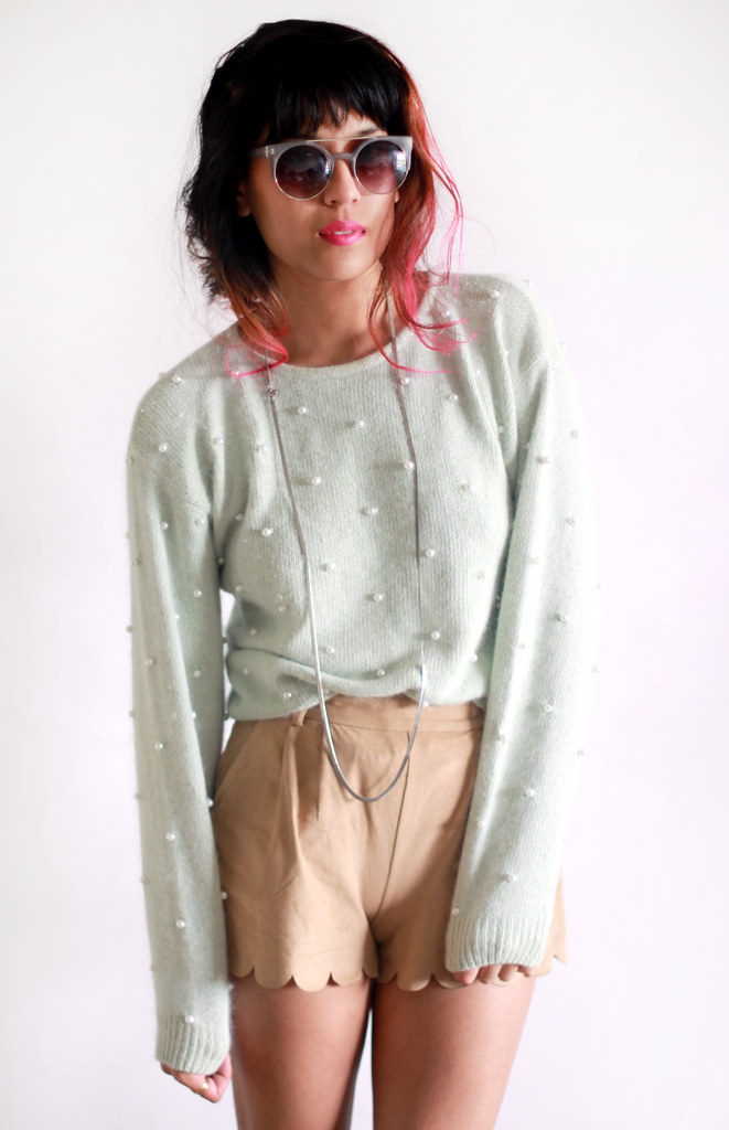 Vintage soft mint pearl embellished sweater by Tarte Vintage at shoptarte.com