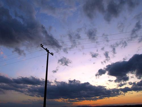 blue sunset sky orange clouds dusk july pole 2012 project365