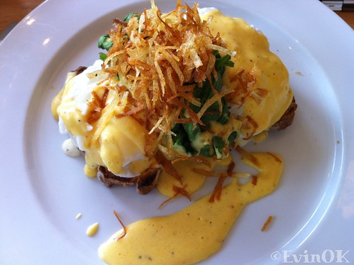 Fenns Quay eggs florentine with Ardsallagh goat cheese and potato straws
