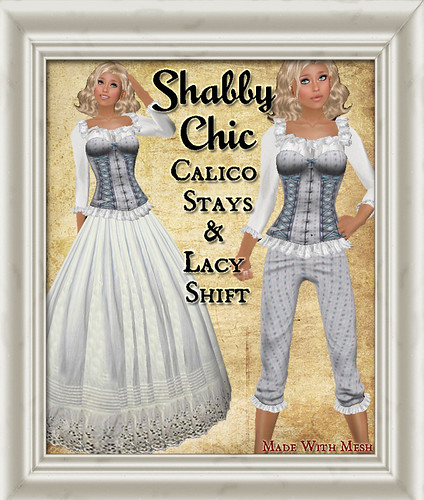 Shabby Chic Blue Calico Stay and Lacy Shift by Shabby Chics