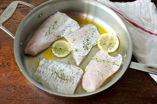 hake with olive oil, butter, and lemon