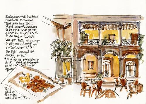 D01_Fri06_09 Hotel Frances Courtyard dinner