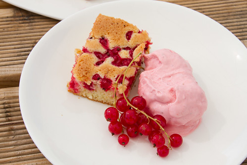 Cardamom and redcurrant cake with red berry mascarpone ice cream