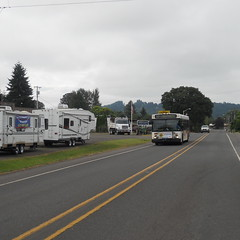 A Portland-nound bus leaves Estacada