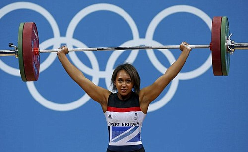 Zoe Smith lifting in the Olympic Games