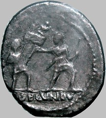 RRC 513/3 Arria Denarius SECVNDVS, male head right with features of Octavian, Two soldiers exchanginf standards. Excessively rare type, Capitoline museum example