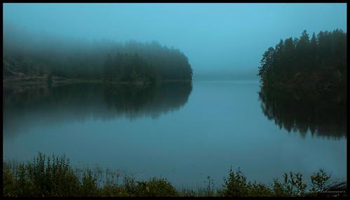 natur vann tåke landskap lurdalen kjennerudvannet