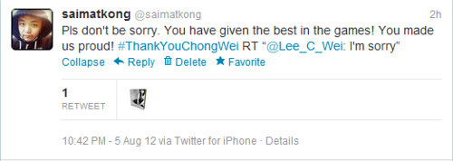 Dato Lee Chong Wei Tweeted I'm Sorry