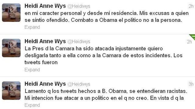 Disculpa Heidi Wys en Twitter