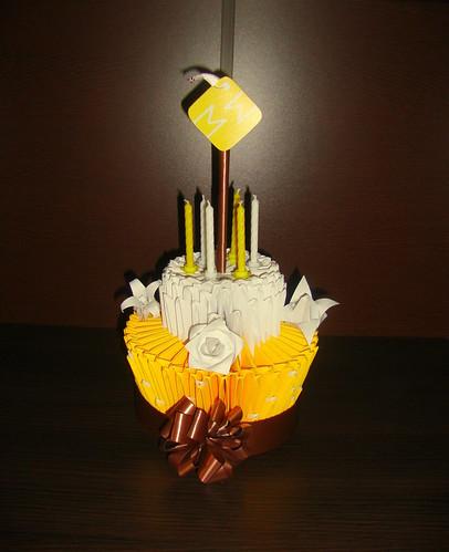 Торт оригами из модулей