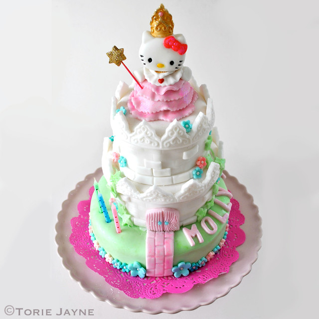 Stupendous Hello Kitty Princess Castle Birthday Cake Torie Jayne Personalised Birthday Cards Cominlily Jamesorg