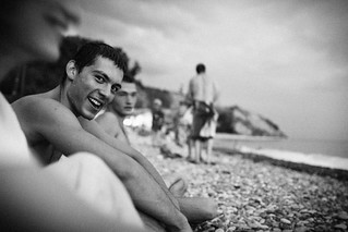 Пляж Буревестник Shepsi yakın görüntü. happiness