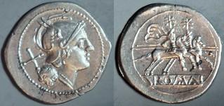 44/5 anonymous Roma Dioscuri Denarius straight visor, compact head, semi-incuse legend