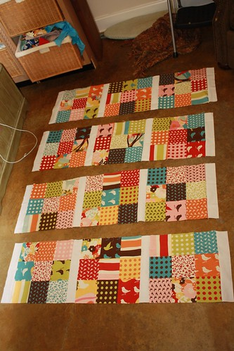 9 Patch Charm Quilt Progress.