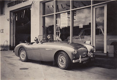Jo Goldfinch in an Austin 6 about 1958.