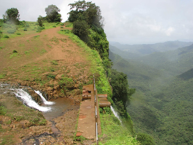 Fall, valley, view - one of the falls at Kavalshet point, Amboli