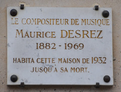 Photo of Maurice Desrez white plaque
