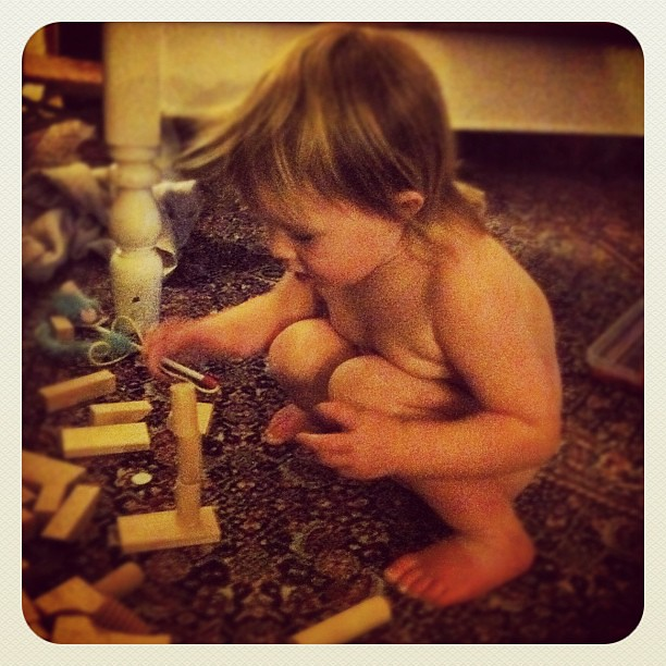 Pivotal moment for Tiny tonight. She learnt to build rather than destroy. Much excitement ensued. Then she learnt to say her sisters names. High-5s all round #unschooling #loveher