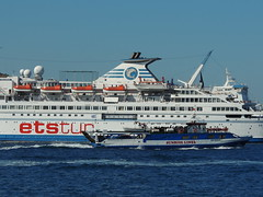 Sunrise Lines' 'San Nicolas' and ETS cruise ship 'Delphin', Çeşme, Turkey