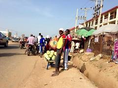 Roadside hawking watermelons in Dutse, FCT Abuja, Nigeria.