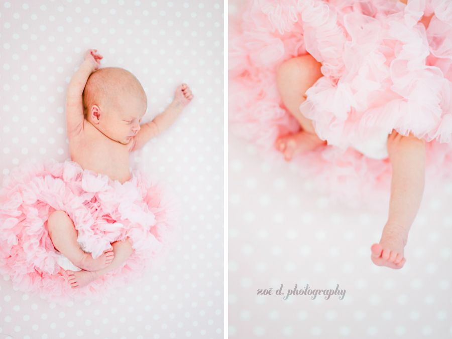 newborn baby girl in pink ruffle tutu in dallas texas
