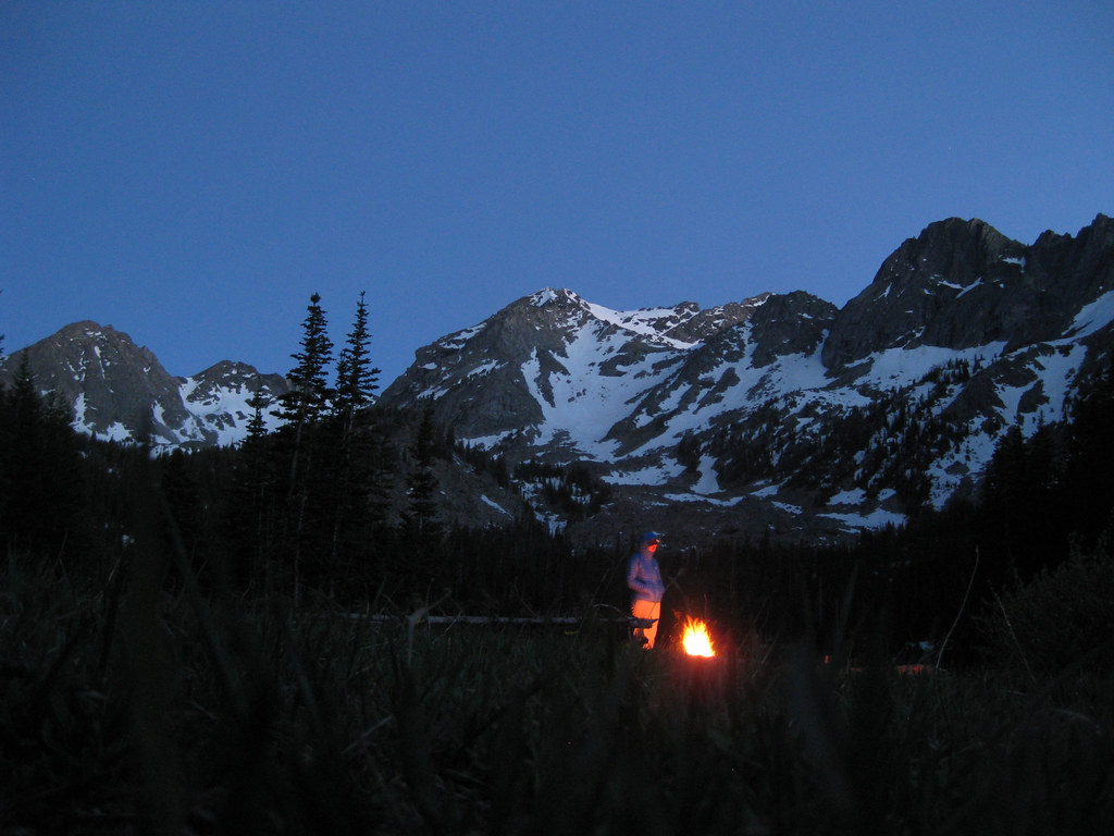 Campfire, Mirror Lake, Spanish Peaks, Madison Range, Montana