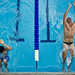 Sailors from the Republic of Korea and the Royal Australian navy swim the 50-meter backstroke.