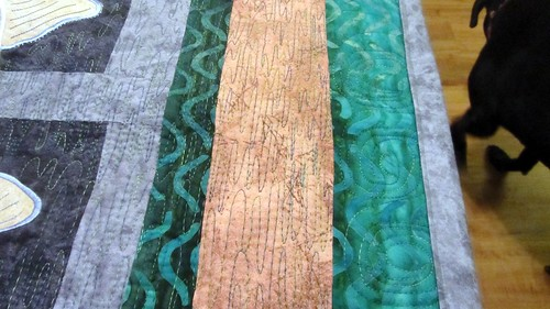 Quilting on the About-A-Trout Quilt