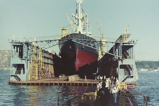 MV 'Mayfield' (Gross tonnage: 8,080) in floating dry-dock at Hong Kong