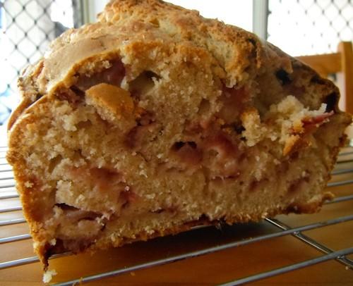 Strawberry loaf-cake innards