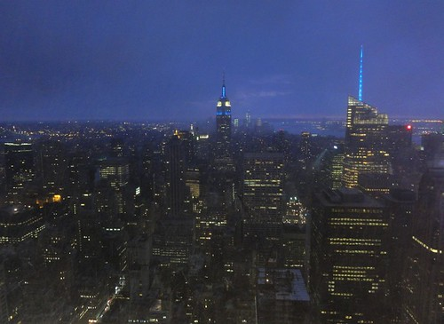 Snow and night fall on Manhattan