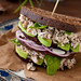 Basil Chicken Salad with Mushrooms, Walnuts and Avocado on the Whole Grain Bread