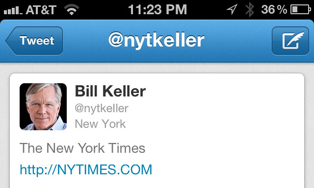 Fake @NYTKeller Twitter Account