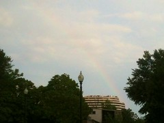 Faint rainbow over DC ending at the Watergate