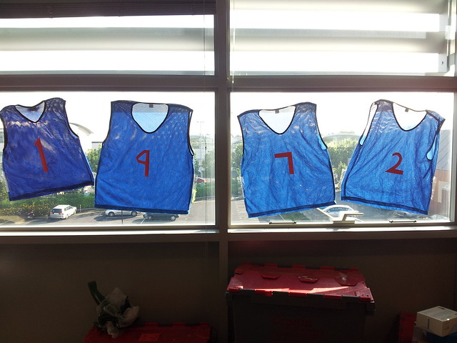 Basketball jerseys on windows