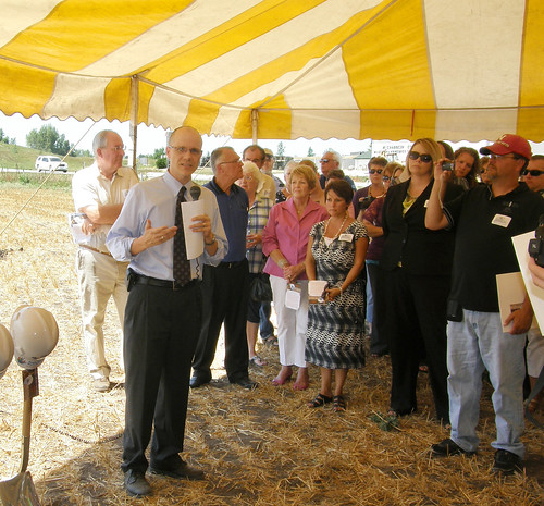 Deputy Under Secretary Doug O'Brien (second from left) speaks at the groundbreaking ceremony for the new Manning Regional Healthcare Center, financed through USDA Rural Development.