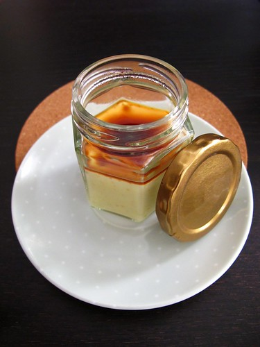 Egg pudding with dark sugar sauce