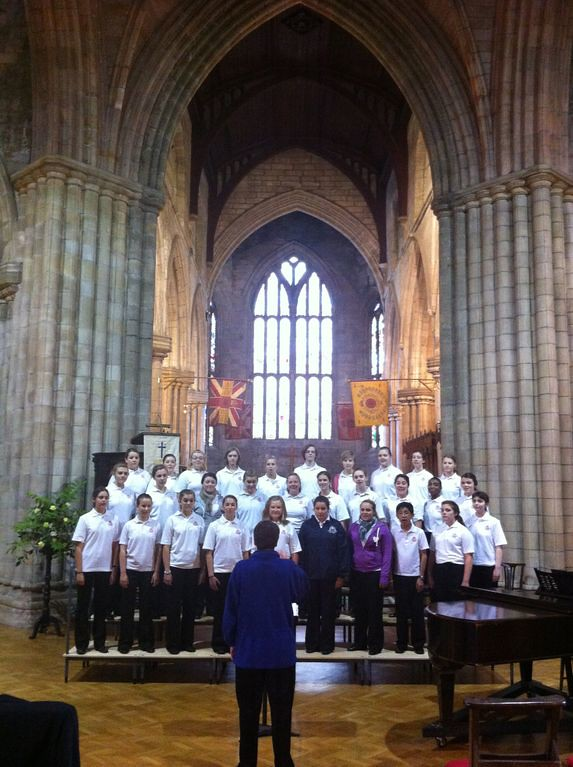 St. Louis Children's Choir rehearses for its concert in the Church of the Holy Rude in Stirling, Scotland
