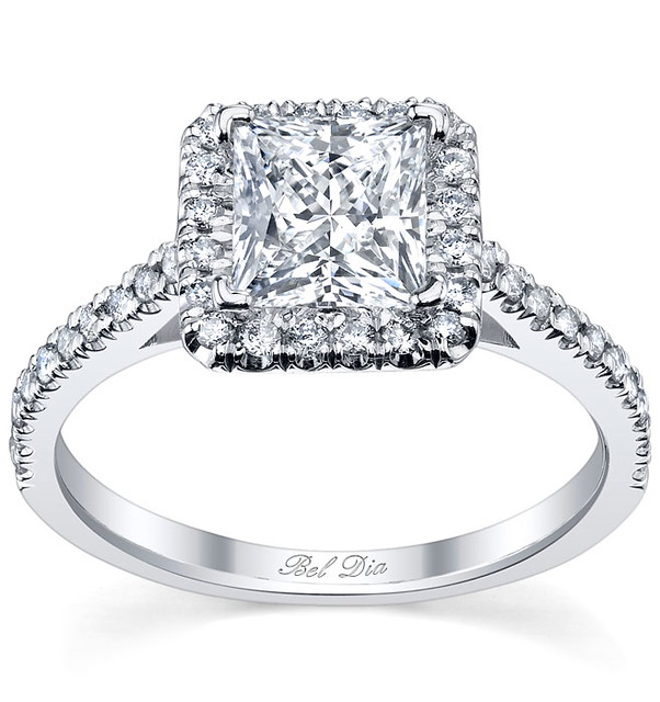 princess cut halo engagement ring setting with