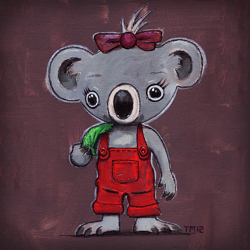 Painting / artwork / Illustration of a little koala girl in red overalls eating a eucalyptus leaf. Acrylic paint on canvas. Children's illustration. (c)2012 Tom Mayer, All Rights Reserved