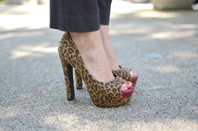 leopard print platform peep toe heels