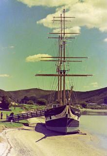 Beached tall ship 'Tui'