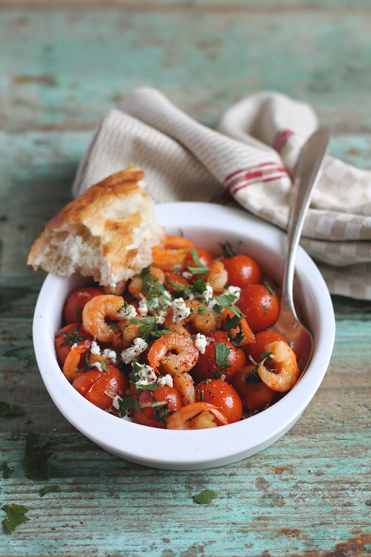 Roasted Tomatoes With Shrimps and Feta