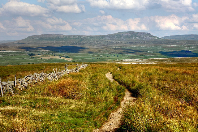 The view across Horton in Ribblesdale to Pen-y-ghent in the Yorkshire Dales national park