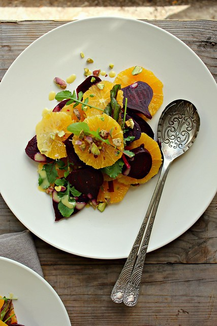 beetroot + orange salad w/ honey mustard miso dressing