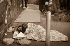Homeless Sleeping in a Parking Lot
