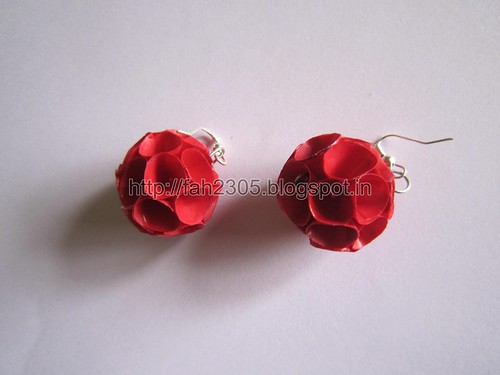 Handmade Jewelry - Paper Cone Globe Earrings (Red Maroon) (1) by fah2305
